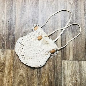 Vintage Retro 70's Cream Macrame Tassel Mini Bag